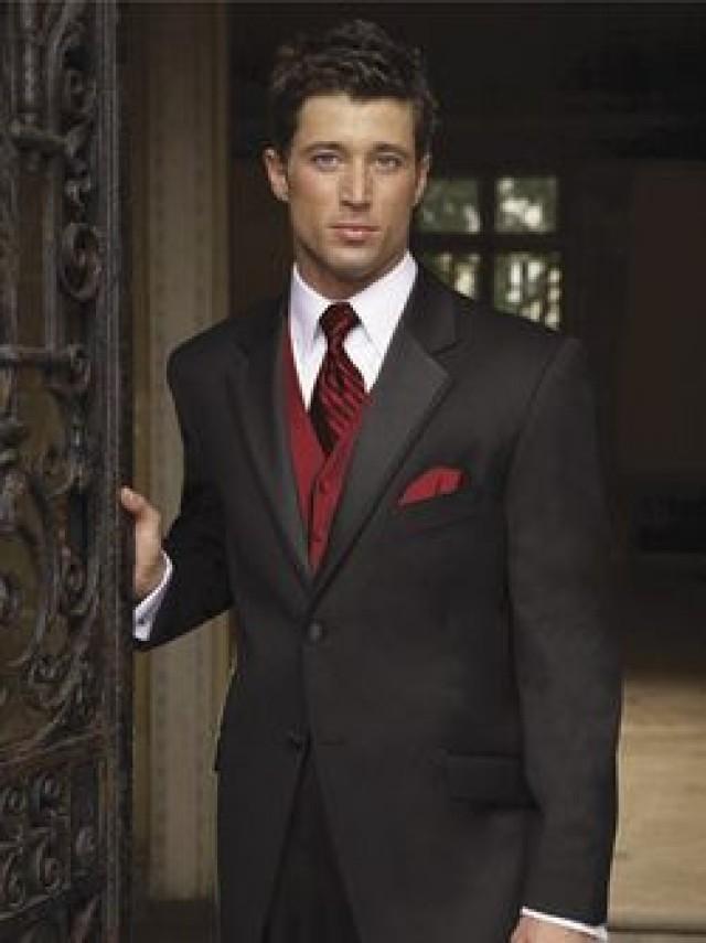 Burgundy Wedding - Black Suit Red Vest For Groomsmen #2066766 ...