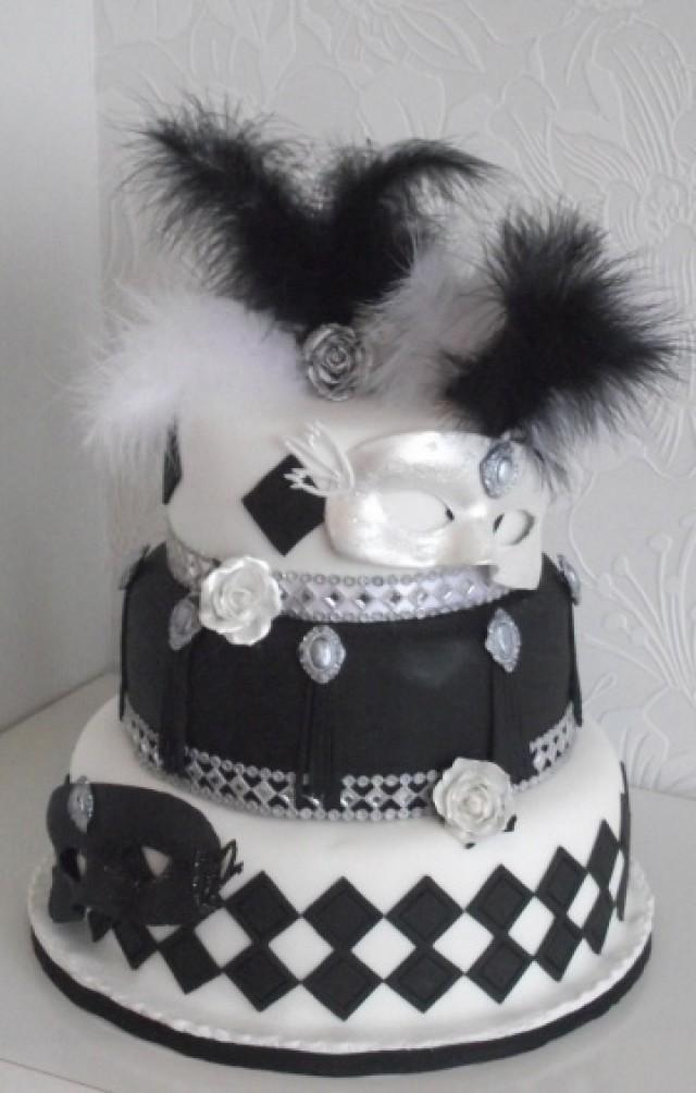 Black And White Masquerade Wedding Cake 2067392 Weddbook