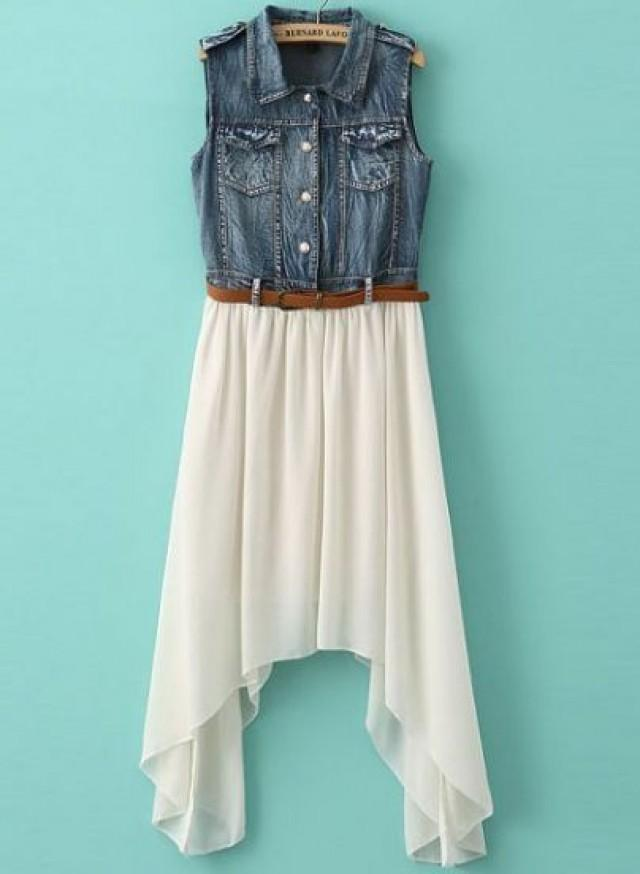 white contrast denim asymmetrical chiffon dress sheinside com