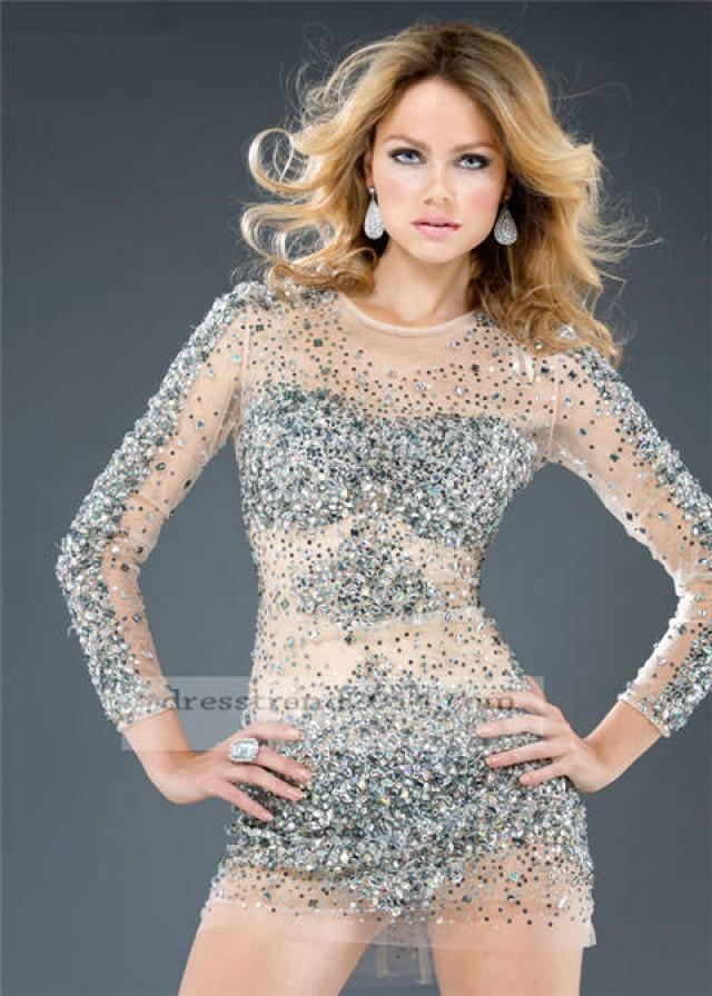 Silver Wedding Short Silver Long Sleeve Prom Dress