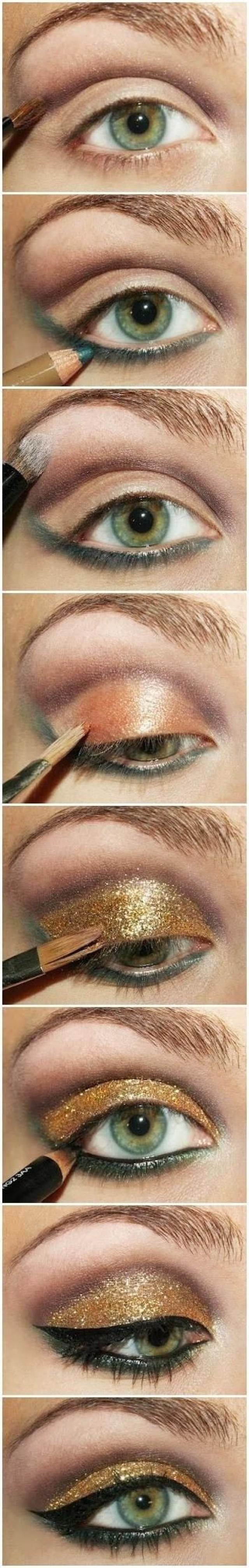 Макияж с золотым карандашом