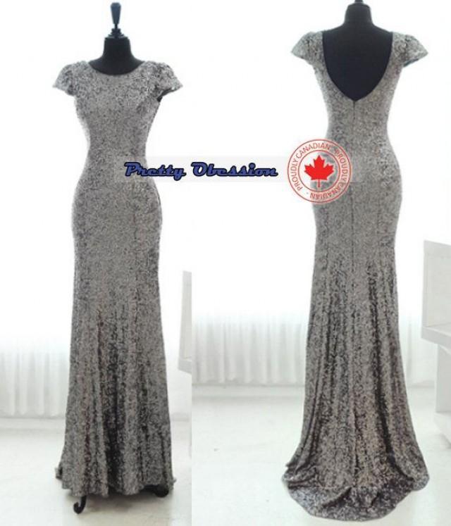 Silber Pailletten-Kleid Brautjungfer, Brautjungfernkleid Silber ...