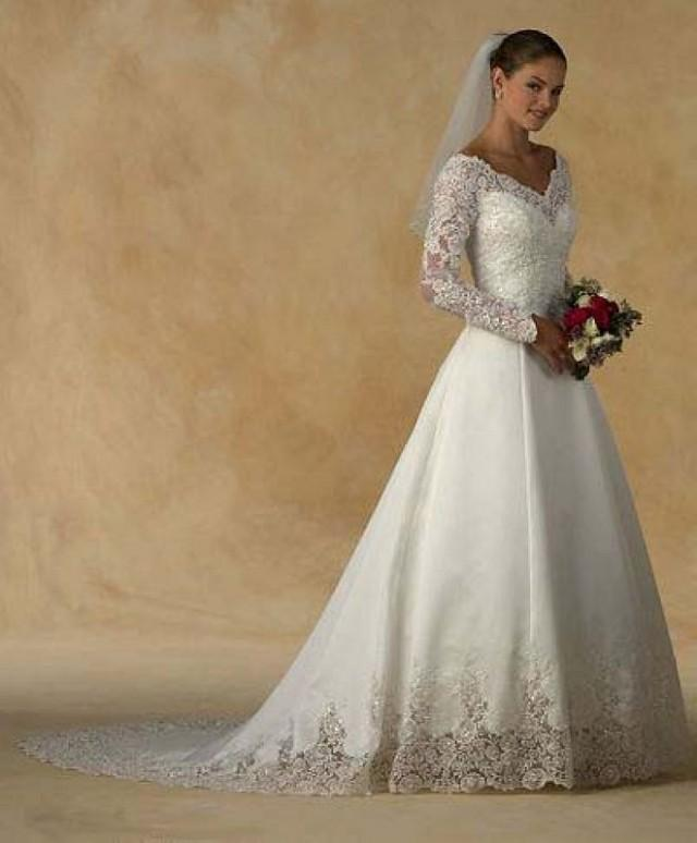 Long Sleeved Wedding Dresses We Love: Long Sleeve Lace Appliques Ivory Satin Court Train Wedding