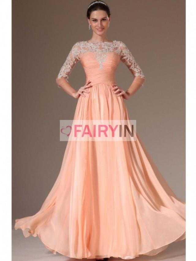 4805273cf25f A-line Princess 3 4 Sleeves Scoop Ruched Applique Floor-length Chiffon  Tulle Dress