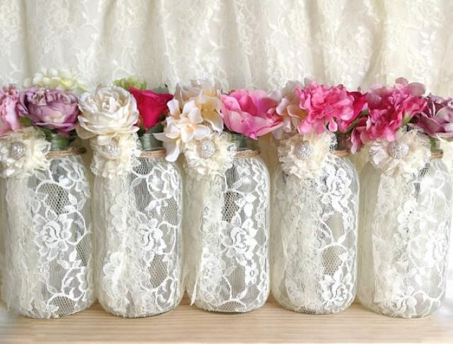 Ivory Lace Covered Mason Jar Vases Wedding Decoration
