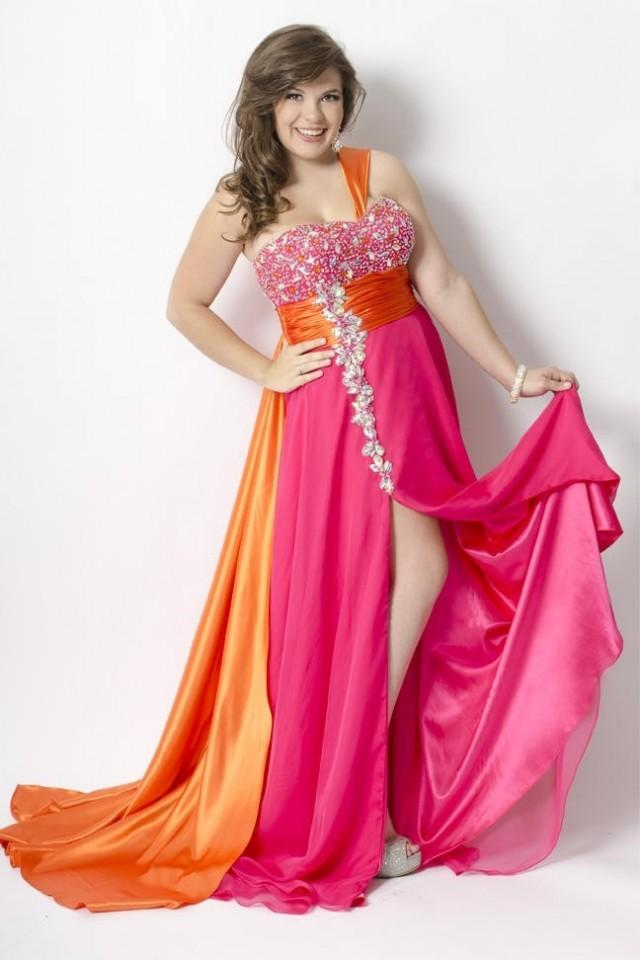 Bicolor Chiffon And Elastic Satin High Slit Plus Size Prom Dress