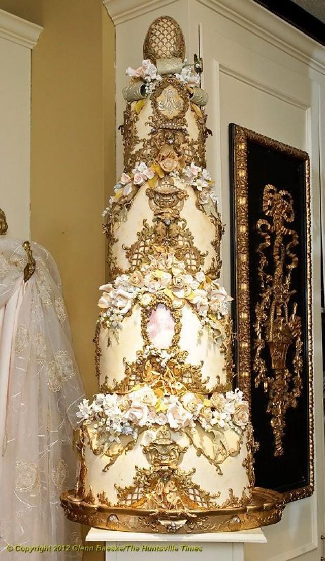 Cake White Amp Gold Wedding Cakes 2092759 Weddbook