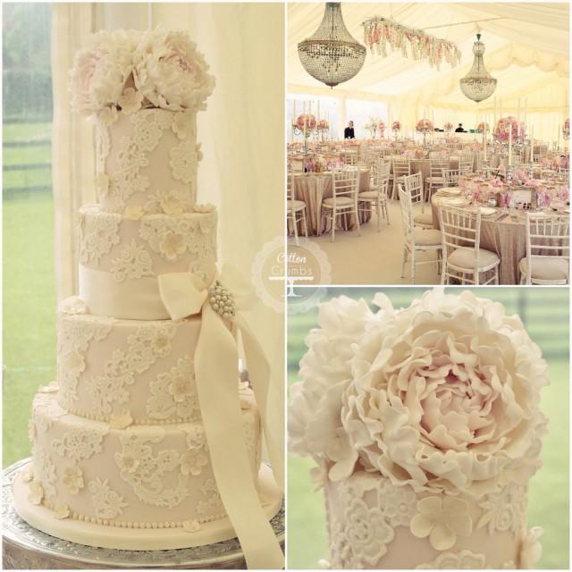 Wedding Cakes - Peonies And Lace Wedding Cake #2104894 - Weddbook