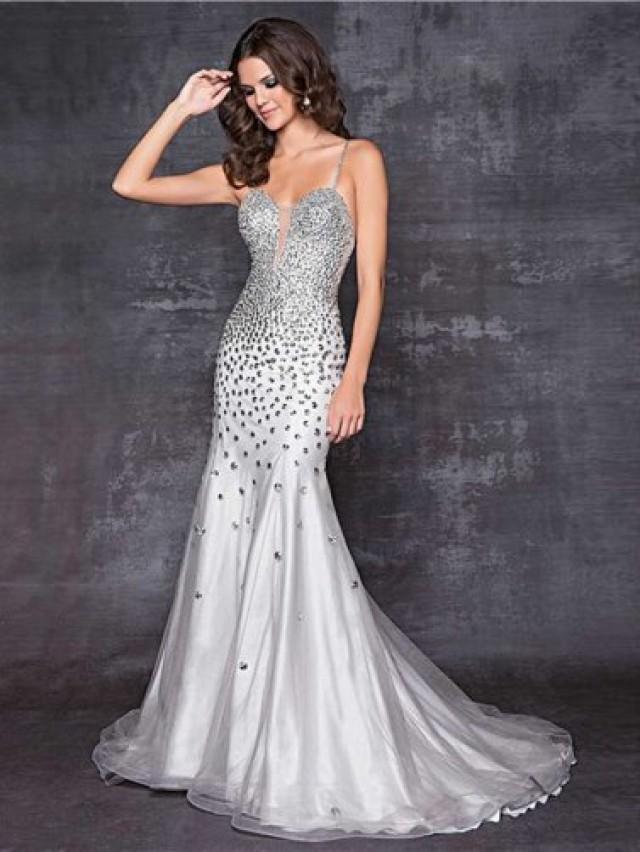 Silver Grey Rhinestone Beaded Sheer Inset Low Back Mermaid Dress ...