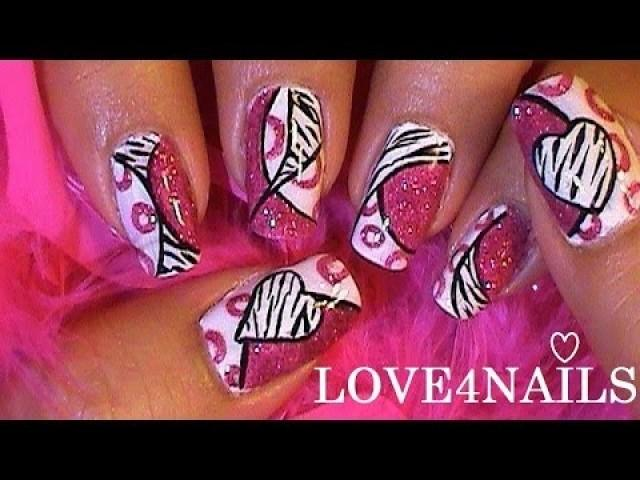 pink zebra mix match muster nails - Nails Muster