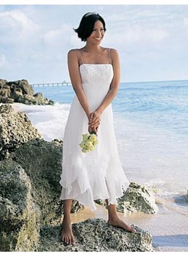 A Line Spaghetti Straps Tea Length Chiffon Wedding Dress We4093