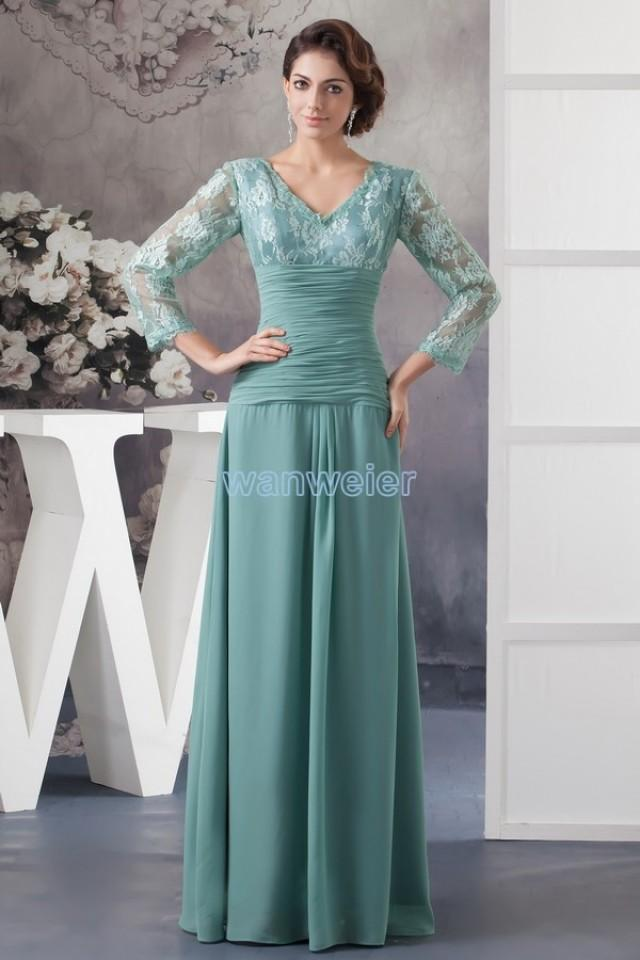 Find Your Sleeves V-neck Green Floor Length Plus Size Chiffon ...