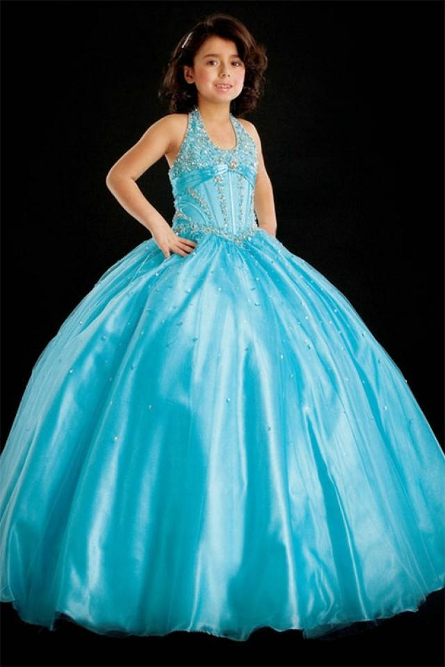 Ball Gown Halter Beading Tulle Baby Blue Satin Girl Pageant Dress ...