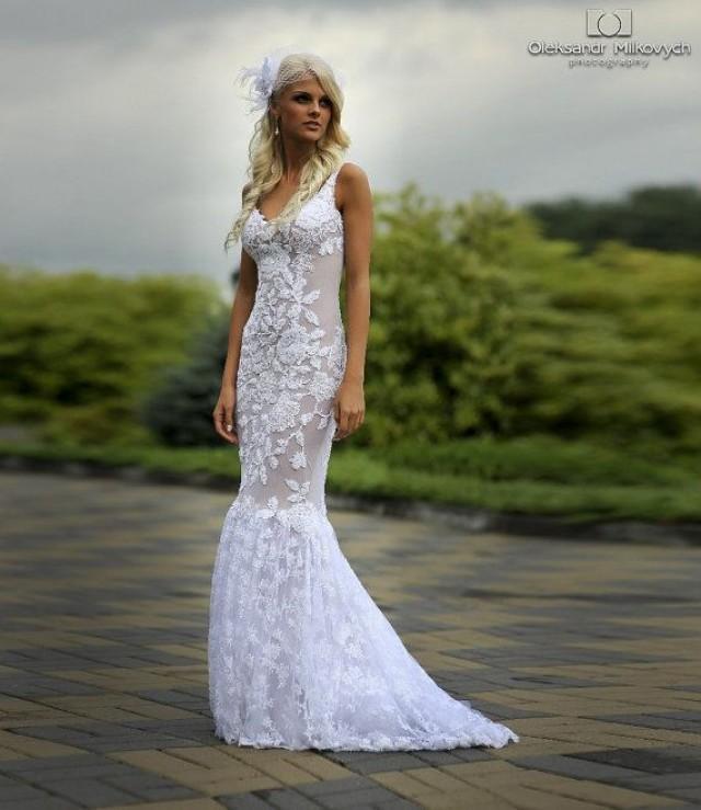 Spitze Lange Brautkleid Mit Puddle Zug, Tüll Hochzeitskleid Mit ...