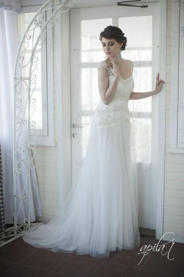 Princess Style Long Wedding Dress, Long Tulle And Lace Wedding Dress ...