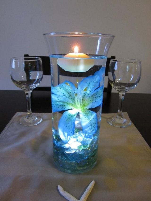 Ocean Blue Tiger Lily Wedding Centerpiece Kit Blue Marbles And Led