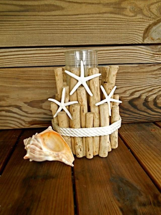 nautical driftwood candle holder wrope and starfish - beach theme wedding decor