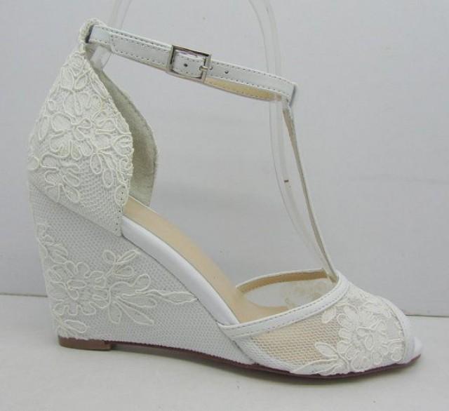 White Lace Wedding Shoes Lace Wedge Bridal Shoes Peeptoes Wedding
