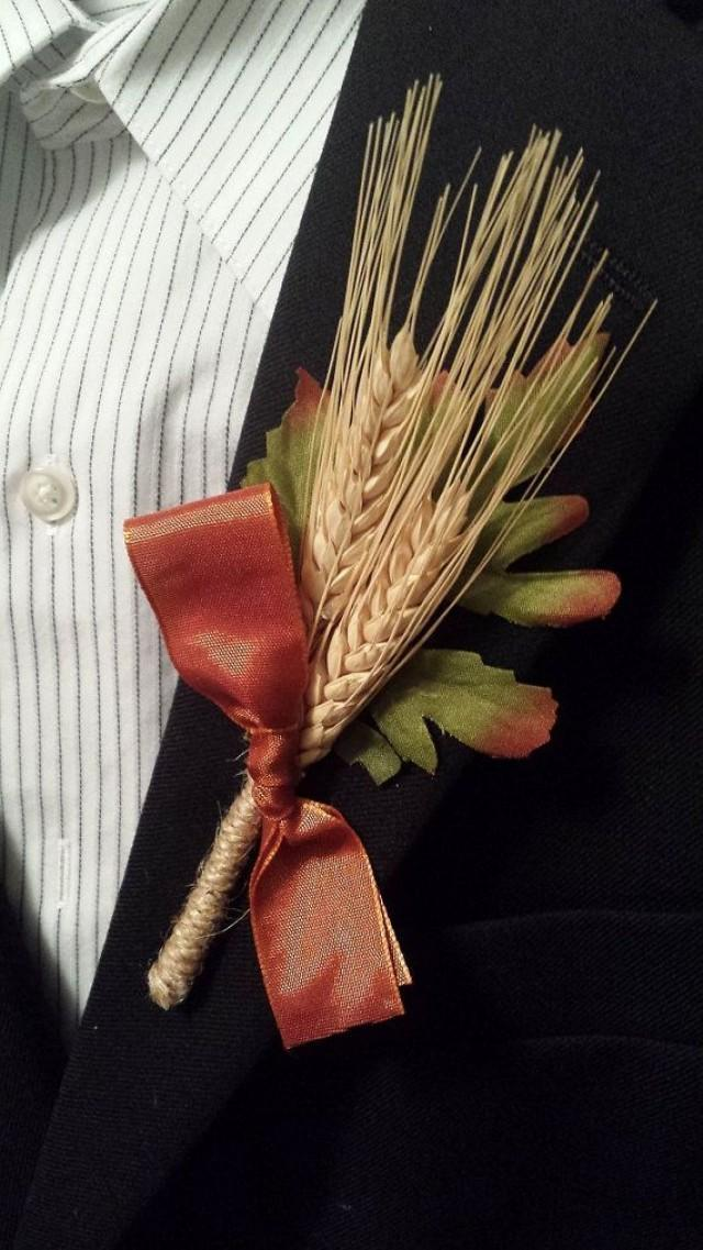 Rustic Fall Wedding Boutonniere (Boutineer)
