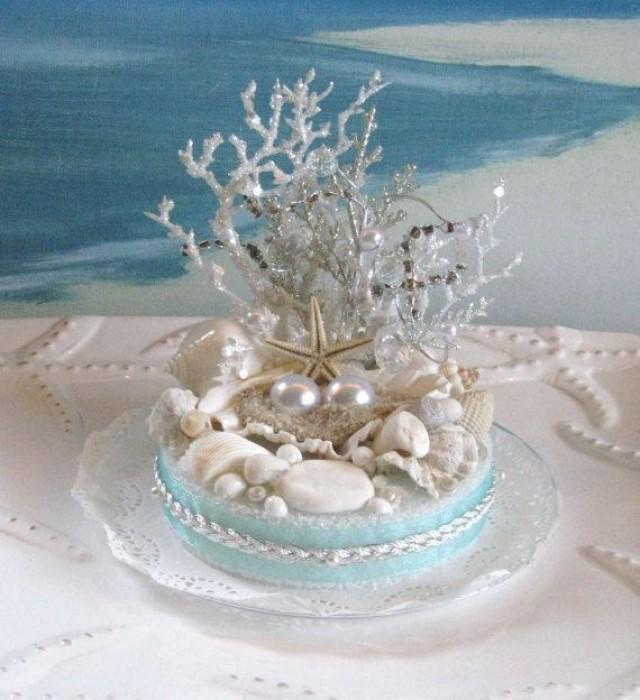 Beau Seashell Beach Wedding Cake Topper Pearl Coral Wedding Cake Topper #2134057    Weddbook