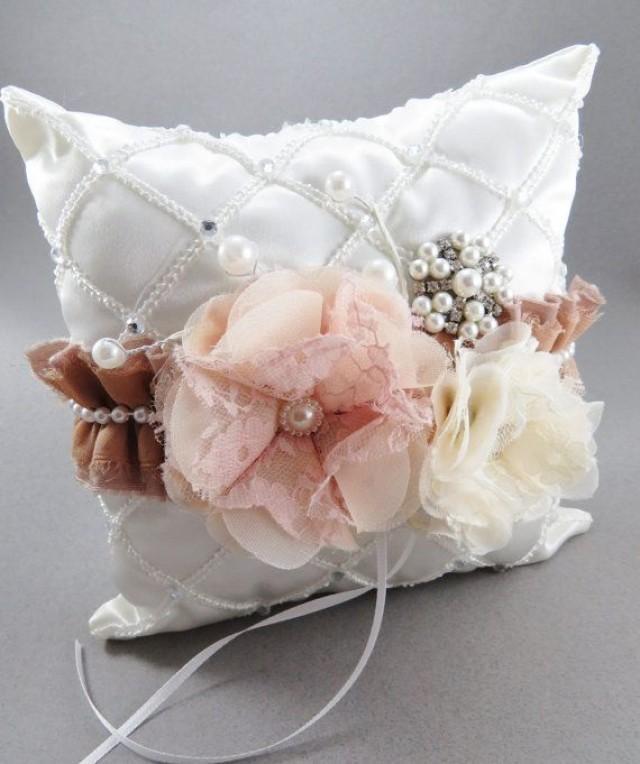 blush ring bearer pillow set flower girl basket ivory flower girl bridal pillow jewels vintage. Black Bedroom Furniture Sets. Home Design Ideas