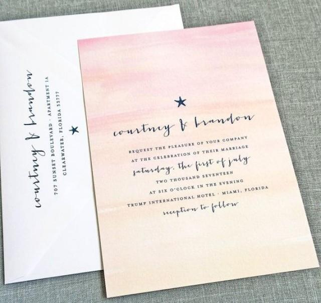 NEW Courtney Watercolor Sunset Beach Wedding Invitation