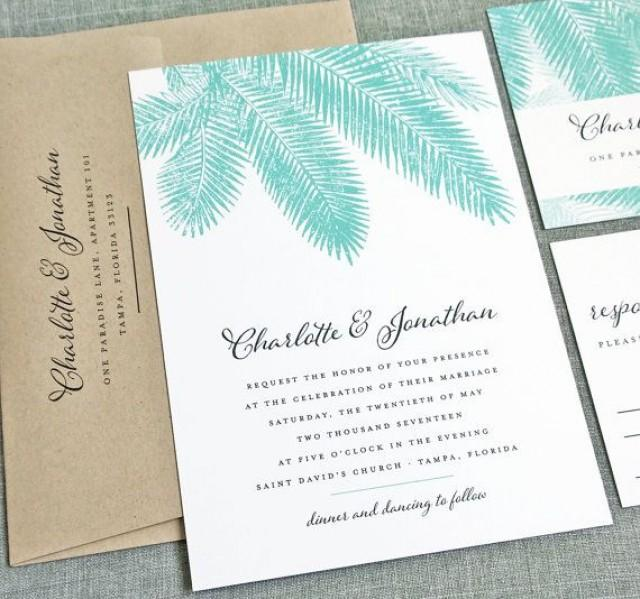 For Beach Wedding Invitation Sample: NEW Charlotte Teal Palm Tree Wedding Invitation Sample