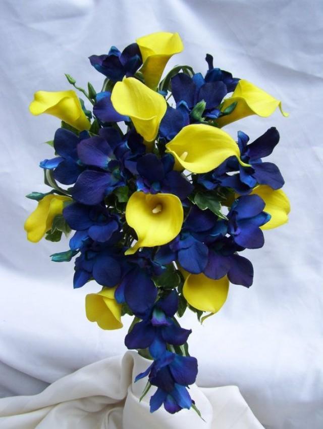 Tracys cascade bridal bouquet with yellow calla lilies blue violet tracys cascade bridal bouquet with yellow calla lilies blue violet dendrobuim orchids 2144410 weddbook mightylinksfo
