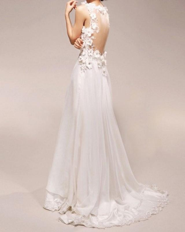 Reserved For Colleen Vintage Wedding Dress A LINE Bridal Gown With Lace Flowers Deep V Neck