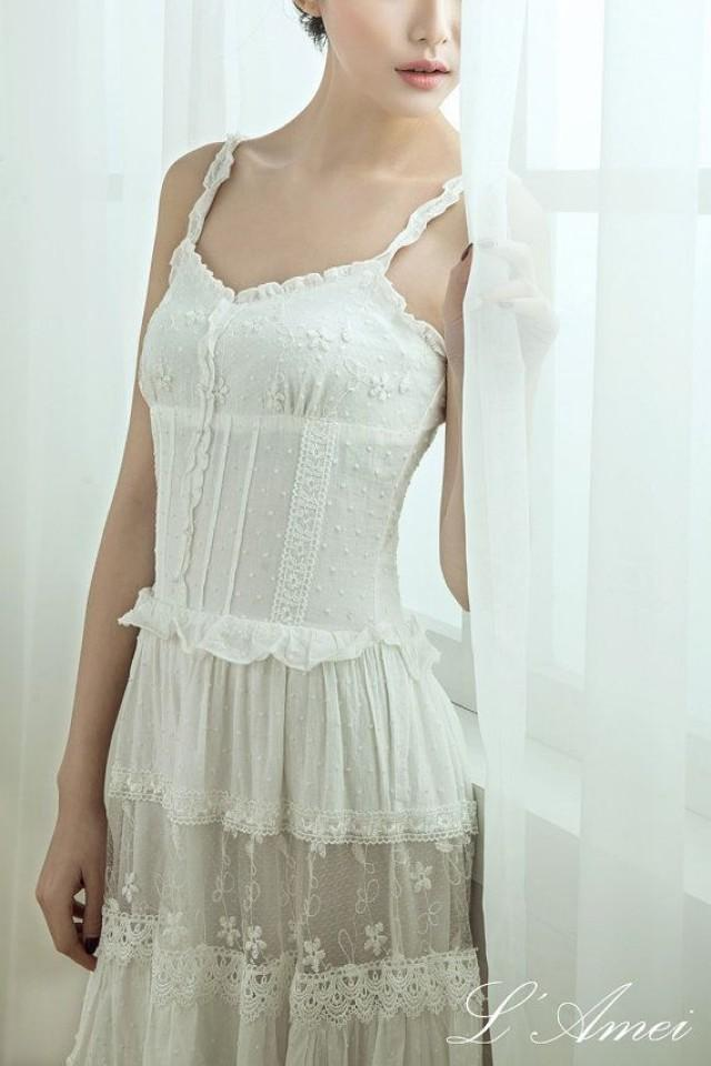simple boho organic cotton lace wedding dress 2148077