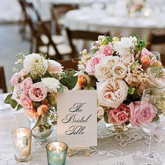 Romantic Garden Wedding Ideas In Bloom: Romantic Vintage Centerpiece #2149682