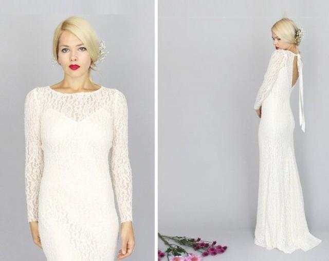 Simple Wedding Dresses With Lace Sleeves: CÉLESTIN: Ivory Lace Long Sleeved Wedding Gown Sheath Back