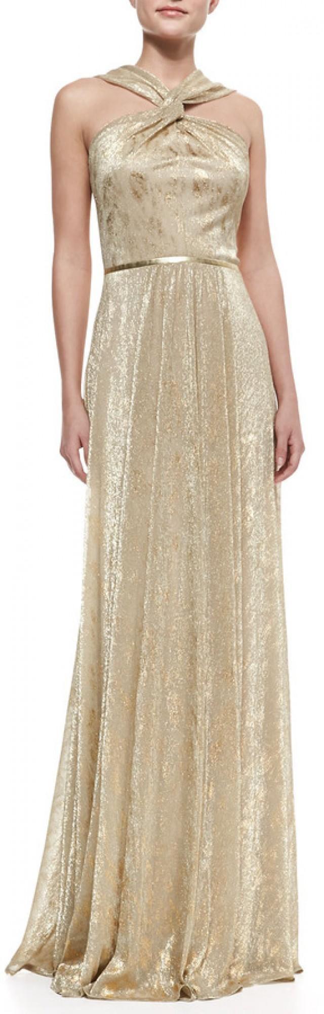 David Meister Halter-Style Metallic Gown, Gold #2154165 - Weddbook