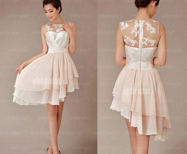 Wedding Gowns For Petite Women: Lace Bridesmaid Dress, Champagne Bridesmaid Dress, Cheap