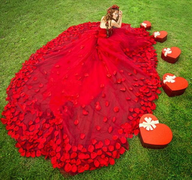 2014 Red Wedding Dresses Prom Party Quinceanera Dress