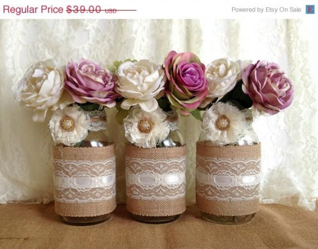3 Day Sale Rustic Burlap And Lace Covered 3 Mason Jar