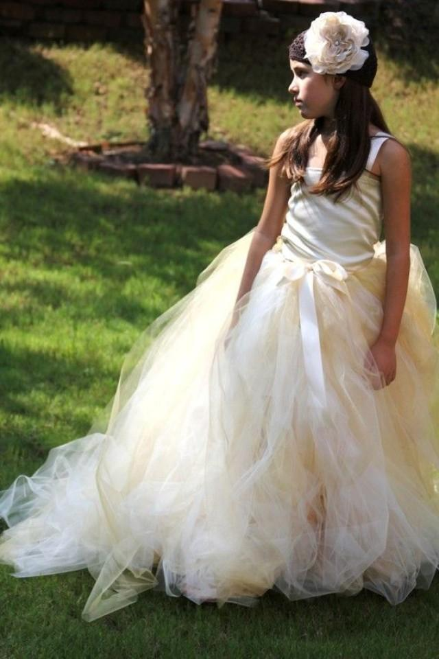 Tulle Skirt Ivory With A Hint Of Gold Flower Girl Tutu