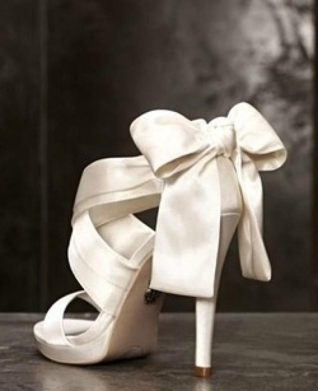 656d1da4b6c Vera Wang  White Collection  Ivory Bride High Heel Sandal W  Bow - Size 7.5