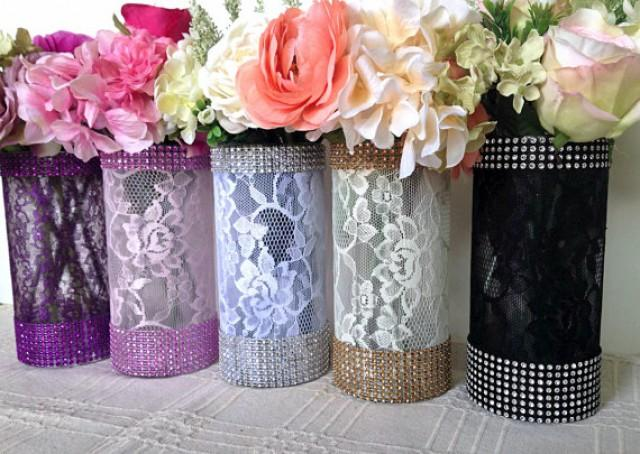 10x lace and rhinestone covered glass vases wedding bridal shower tea party table centerpieces 2159671 weddbook