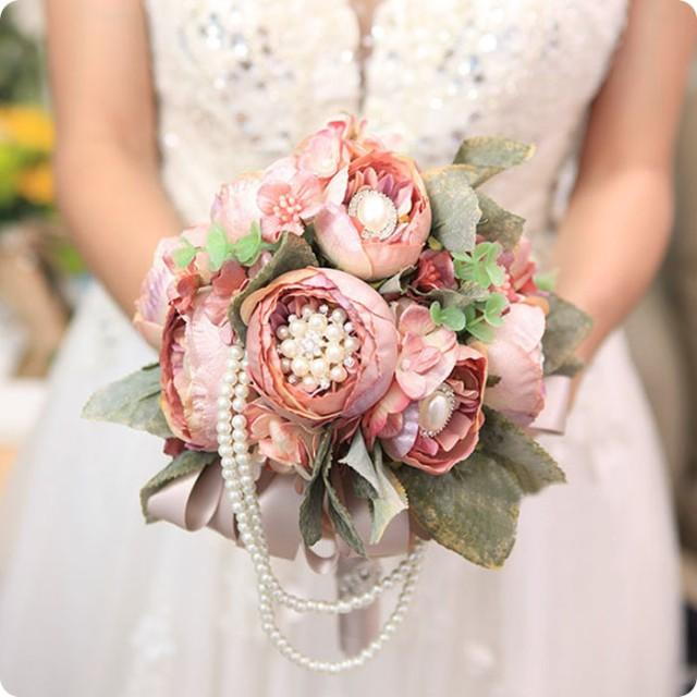 vintage european style luxury champange wedding artificial flowers bridal bouquets leaves