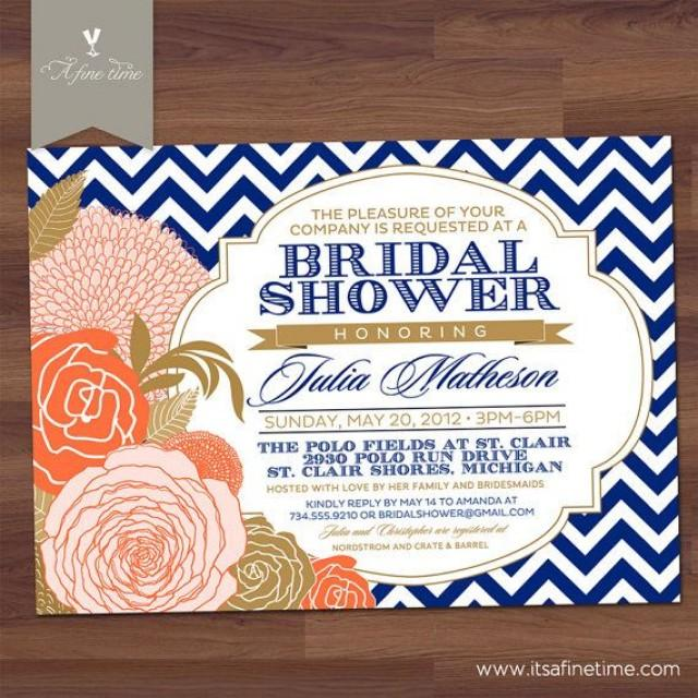 Bridal shower invitation quotchevron rosequot antique floral for Royal blue and coral wedding invitations