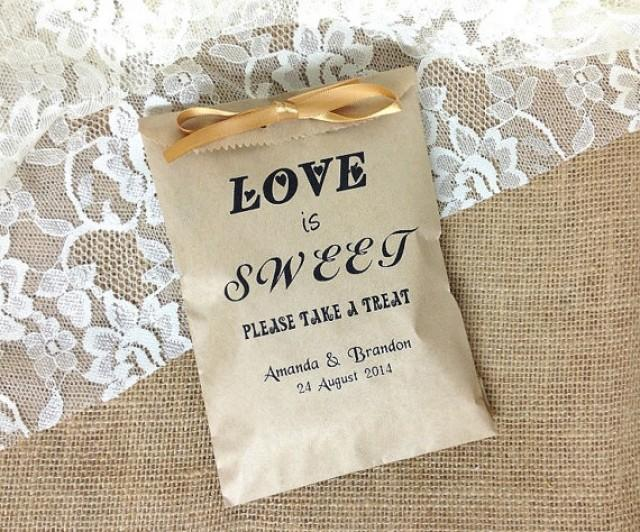 50 Personalized Love Is Sweet Rustic Wedding Favor Bag