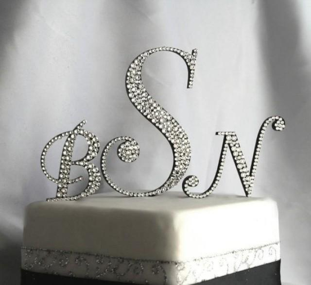 O U R D O L L H O U S E In 2019: Three Initial Monogram Cake Topper In Any Letters A B C D