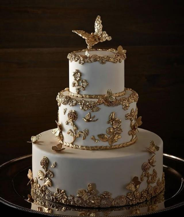 White & Gold Wedding Cakes #2168277