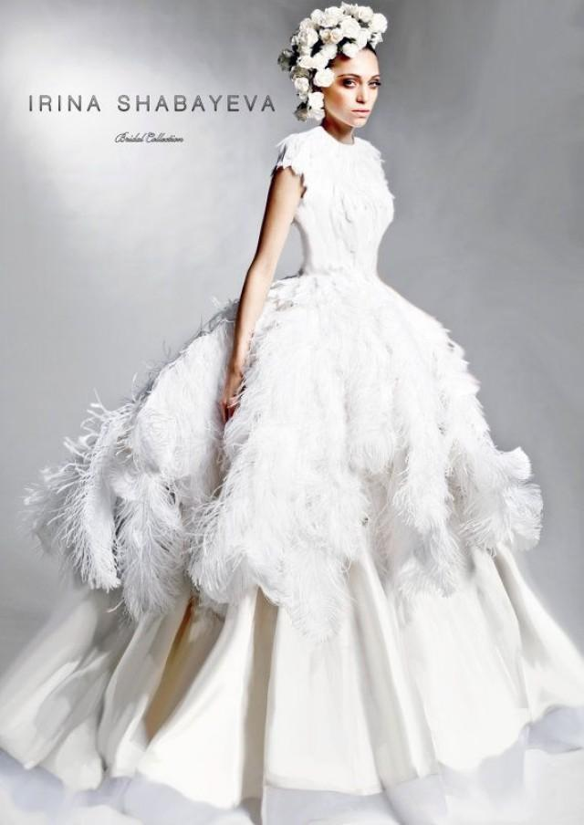 IRINA SHABAYEVA COUTURE Feather Queen Elizabeth Ball Gown Style Dress 2168864