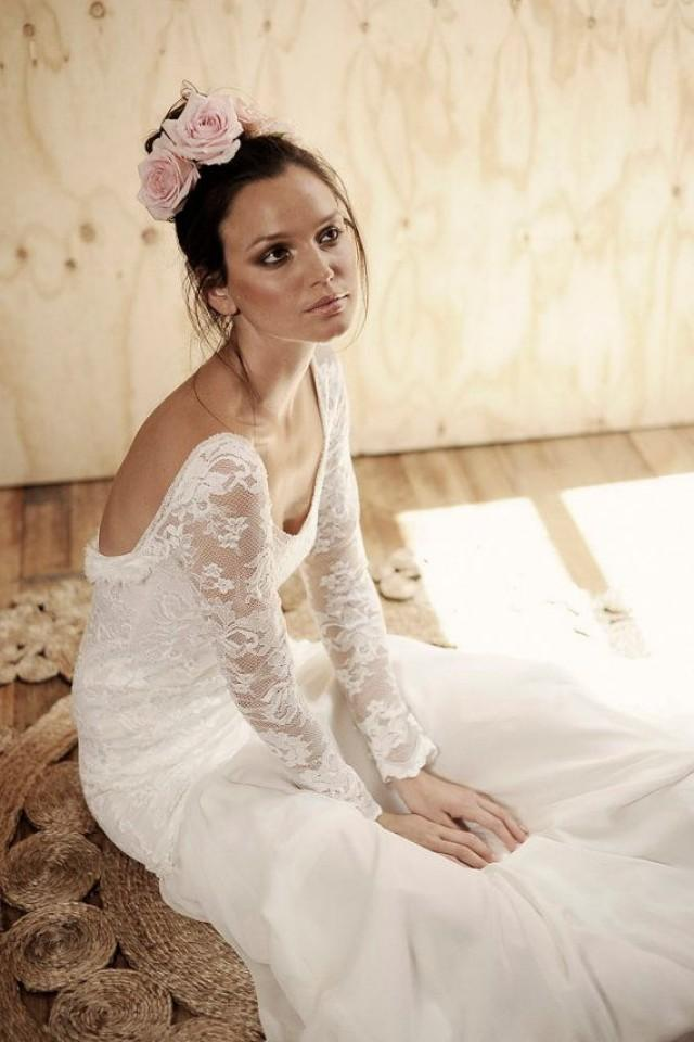 Long Lace Sleeve Wedding Dress With Stunning Low Back And Silk Chiffon Train Boho Vintage Bride 2170721