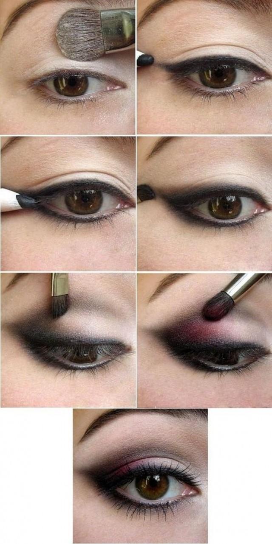 Поэтапный макияж глаз для брюнетки