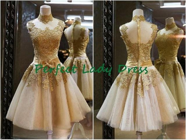 Qq545 Short Gold Lace Wedding Dress With High Collar Knee Length Cheap Bridal Wedding Wear Beach Wedding Dress 2172355 Weddbook,Plus Size Designer Wedding Dress