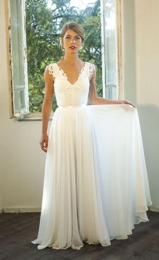 Romantic Vintage Inspired Wedding Gown Custom Made Chiffon
