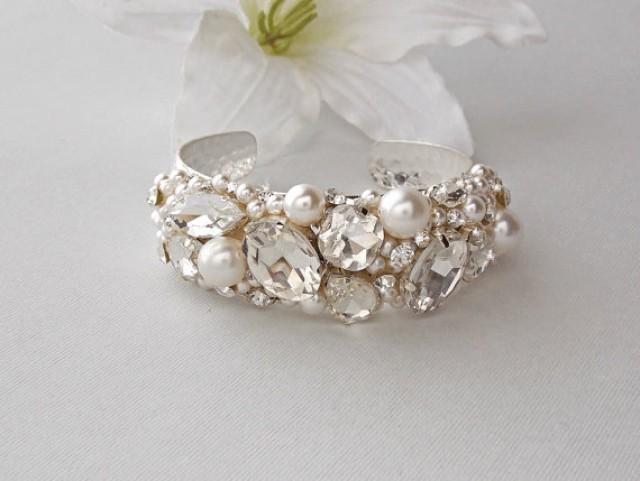 Wedding Bracelet Bridal Pearl Cuff Crystal Swarovski Vintage Carrie 2175106 Weddbook